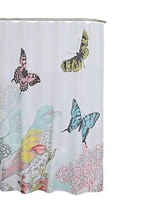Cardinal Birds & Butterfly Plants Print Fabric Shower Bathroom Curtain, 70x70 - Butterfly Bathroom