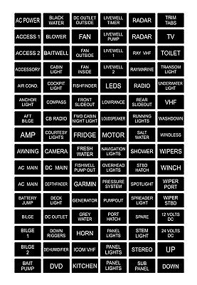 96 Black / White Boat Marine Electric Panel Switch Label Sticker Decal Pack Kit