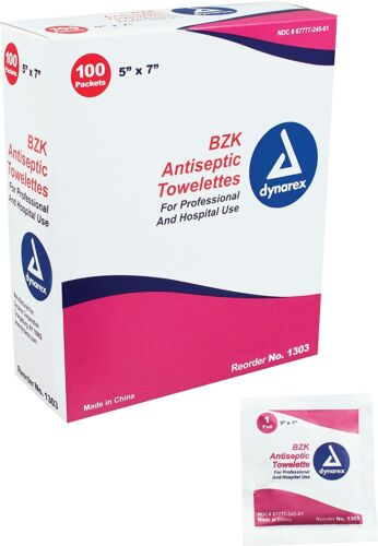 "Dynarex 5"" x 7"" 1303 BZK Antiseptic Hand Alcohol Towelette Wipes 100 ea Exp 2/25"