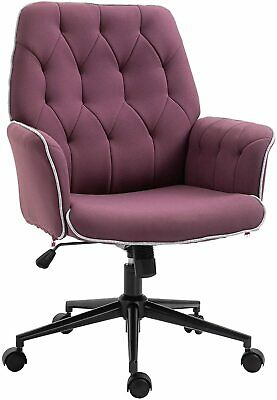 Tufted Office Chair Arms Swivel Adjustable Purple Deluxe Furniture Seat Linen
