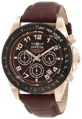 Invicta Men's Speedway Brown Dial Brown Leather Strap Chronograph Watch 10712 on Rummage