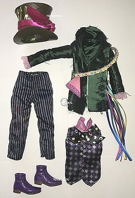 Alice Through the Looking Glass Mad Hatter Ken Doll Outfit Hat Clothes Shoes NEW](The Mad Hatter Hat)
