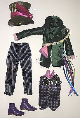 Alice Through the Looking Glass Mad Hatter Ken Doll Outfit Hat Clothes Shoes NEW (Alice Outfit)