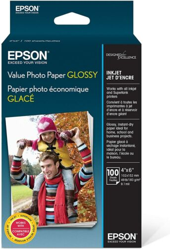 """Epson Value Photo Paper Glossy 100 Sheets Long Lasting Fast Drying Letter 4x6"""""""