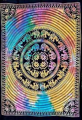 MultiColor UP Elephant Art Mandala Poster Indian Wall Décor Beach Throw Yoga Mat