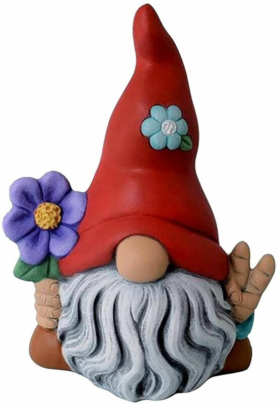 """Miniature Fairy Garden 4"""" Red Hat Gnome Holding Flowers - Buy 3 Save $5"""