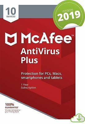 MCAFEE ANTIVIRUS PLUS 2019 - 10 DEVICES - 1 YR PC MAC ANDROID IOS IPHONE
