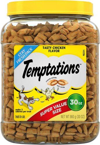 TEMPTATIONS Classic Tasty Chicken Flavor Cat Treats , 30 Oz