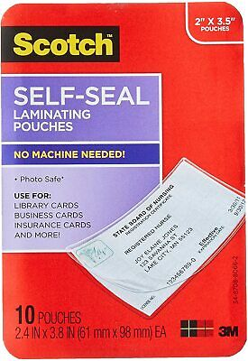 Scotch 3m Self-sealing Laminating Pouches 2 X 3.5 - 10 Pk Business Card Size