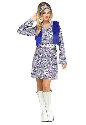 Groovy 60's Mod Hippie Shaggy Chic Adult - Hippie Chic Kostüm