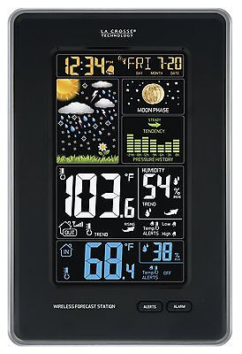 La Crosse Technology Vertical Wireless Color Weather Station with Pressure Black