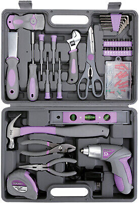 44-Piece Home Repair Tool Kit Purple Women Girls female Blow Mold Case, UJ84133G - Molded Tool Case