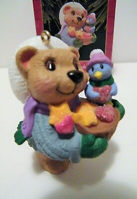 Hallmark Sweet Friendship 1999 Little Bear, Bird Ornament Animal Rescue Charity