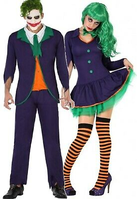 Villain Couples Costumes (Couples Ladies & Mens Funny Clown Villain Film Halloween Fancy Dress)