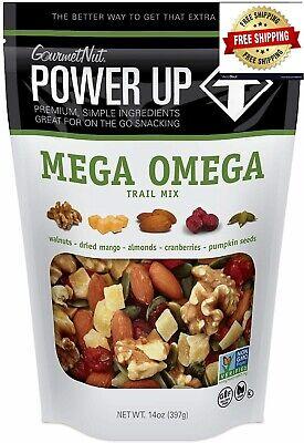 Gourmet Nut Power Up,Mega Omega Trail Mix,Non-GMO,Vegan,Gluten Free,14 oz