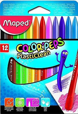 Maped Color'Peps Plasticlean Wax Crayons School Office Stationery Arts Crafts