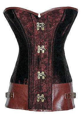 5273 Vintage Corsage, Streampunk, Brokat, in schwarz, weiß, braun und rot ()