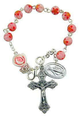 Pink Flower Bead Rosary Bracelet with Rosebud and Miraculous Medal, 7 1/2 Inch
