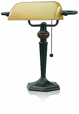 Traditional Bankers Lamp Piano Desk Table Office Vintage Amber Shade Bronze-New