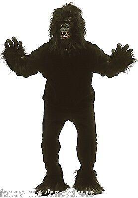Herren Damen Schwarz Gorilla Anzug Fest Herrenabend Kostüm Kleid (Gorilla Kostüm Anzug)
