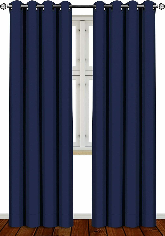 2 Panel Thermal Blackout Room Darkening Curtains Set 52 x 84