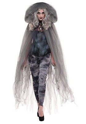 Herren Damen Grau mit Kapuze Gothic Halloween Vampir Cape Kostüm Umhang