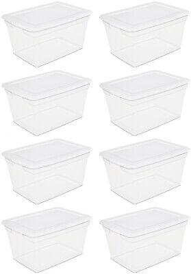 8 PACK Storage Container Box Sterilite Plastic 58 Qt Clear S
