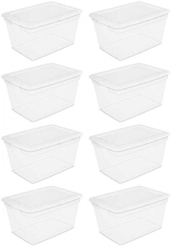 8 PACK Storage Container Box Sterilite Plastic 58 Qt Clear Stackable Bin W/ Lid