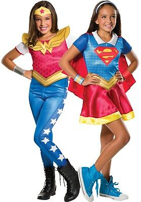 Girls Wonder Woman Supergirl Gift Box Twin Pack TV Fancy Dress Costume - Wonder Twins Costumes