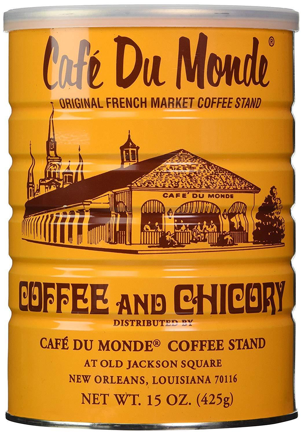 Cafe Du Monde Dark Roast Coffee With Chicory 15 Ounce Ground (Pack of 3)
