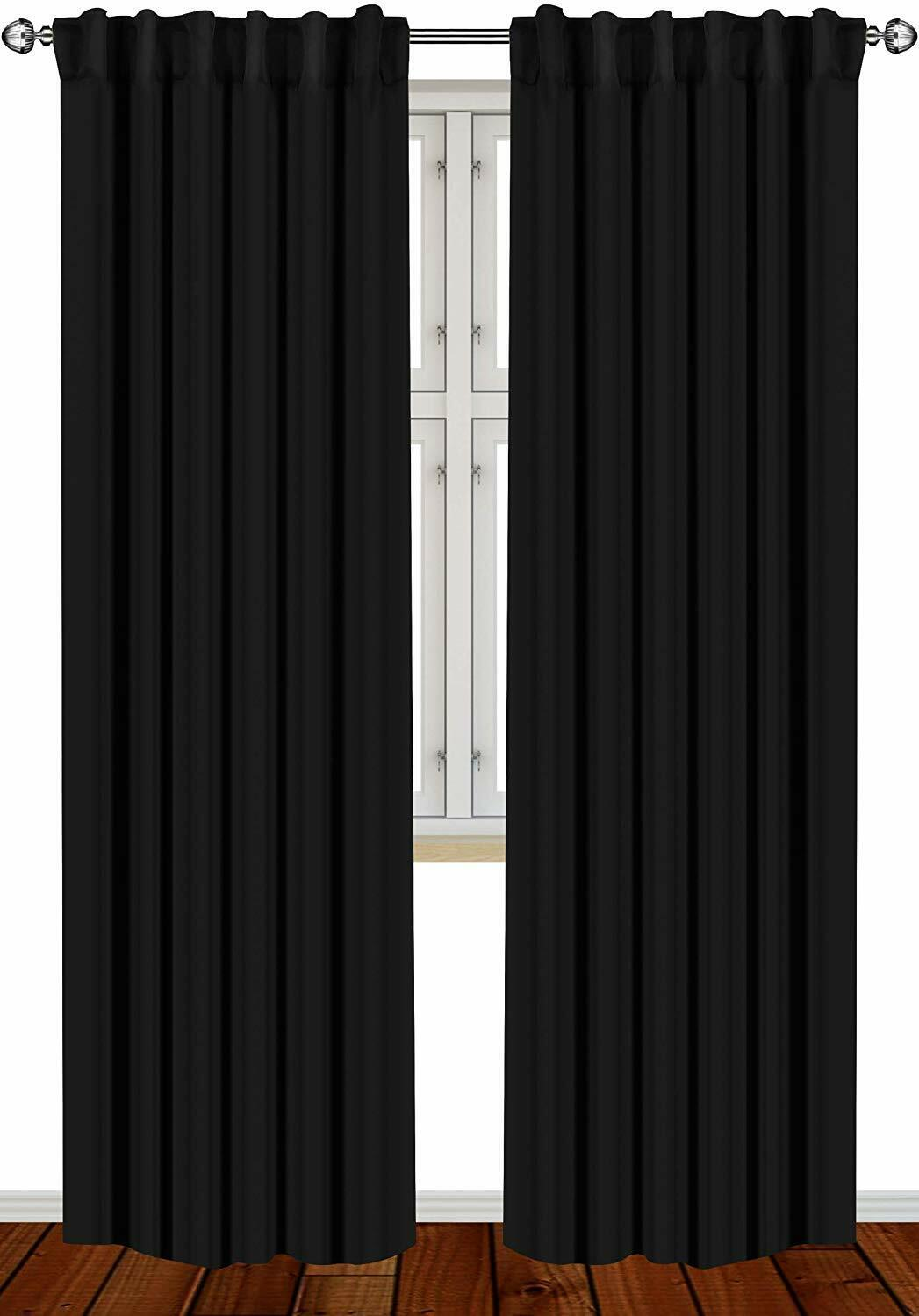 Window Curtains Blackout Room Thermal Insulated 2 Panels 52x
