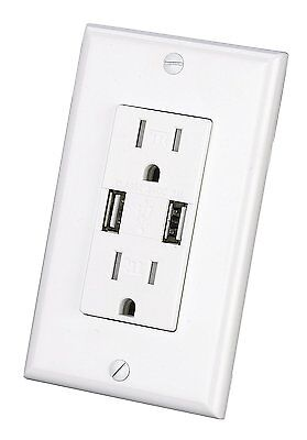Outlet With Usb Charger 3 1A Socket Dual Duplex Receptacle 15 Amp W  Wall Plate