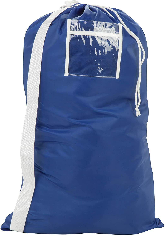 Honey-Can-Do Blue Drawstring Clothes Laundry Duffel Bag w/ S