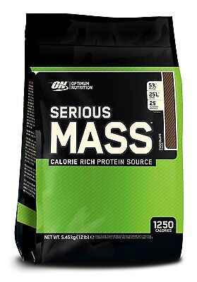 Optimum Nutrition Serious Mass Weight Gainer Protein Carb Powder Drink, 12lb on Rummage