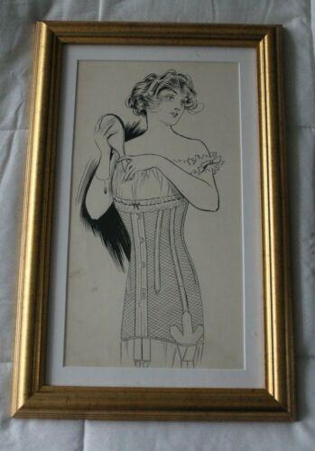 ORIGINAL OLD INK PORTFOLIO DRAWING  LEYENDECKER STYLE/ ERA  ART DECO