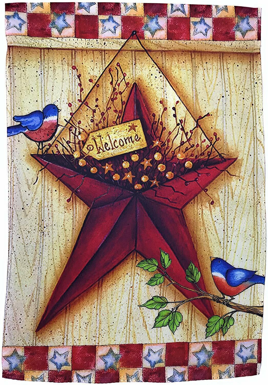 "Barn Star Garden Flag 12"" x 18"" Patriotic, Primitive Double"