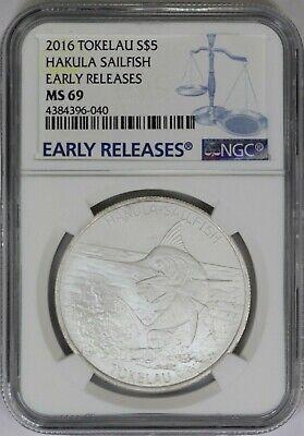 2016 Tokelau $5 Hakula Sailfish Coin 1 oz Silver NGC MS69  Early Releases