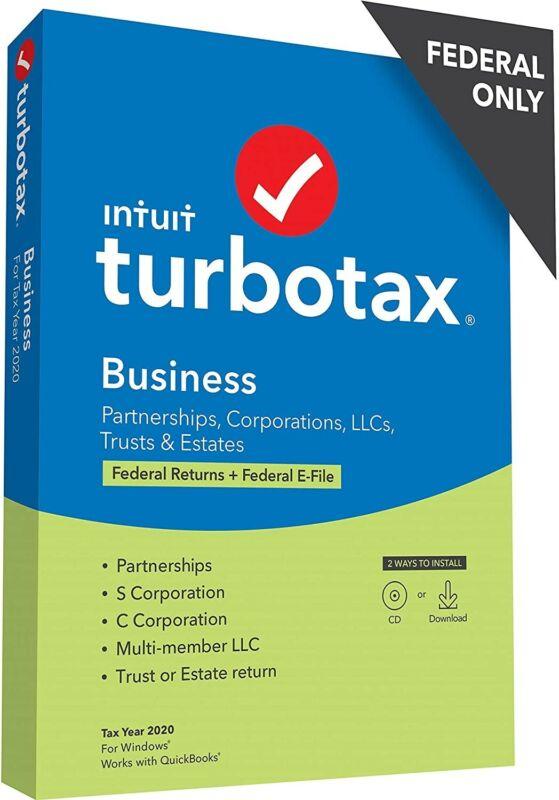 TurboTax Business 2020 Desktop Software, Federal Return + Federal E-file- Disc