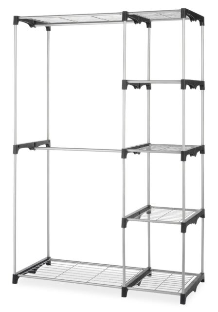 Whitmor Double Rod Closet System Organizer Wardrobe Portable Clothes Rack  Holder
