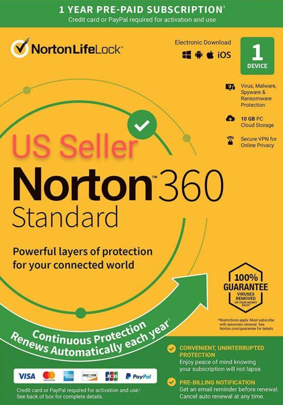 Norton 360 Symantec Norton Protection 1PC 365 days. Good For PC, MAC or Laptop.