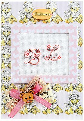 Birth Announcement Cross Stitch Card Kit By Luca-S Pink Teddy Hand Made -