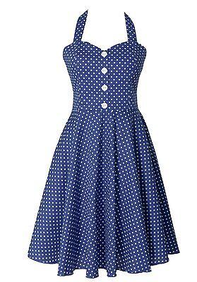 Vintage Retro 50's Polka Dot Button Halter Women's Swing Dress Royal Blue](50s Polka Dot)