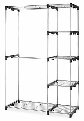 (New Double Rod Closet Organizer Hanging Rack Clothes Storage Clothing Racks Bar)
