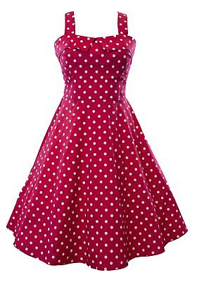 Vintage 50's Polka Dot Fold Over  Empire Women's Swing Dress Fuchsia](50s Polka Dot)
