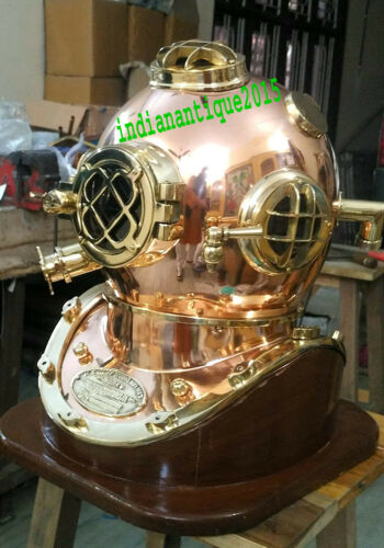 Diving Helmet Copper and Brass Helmet with Base Scuba Dive Diving Diver Old Helm