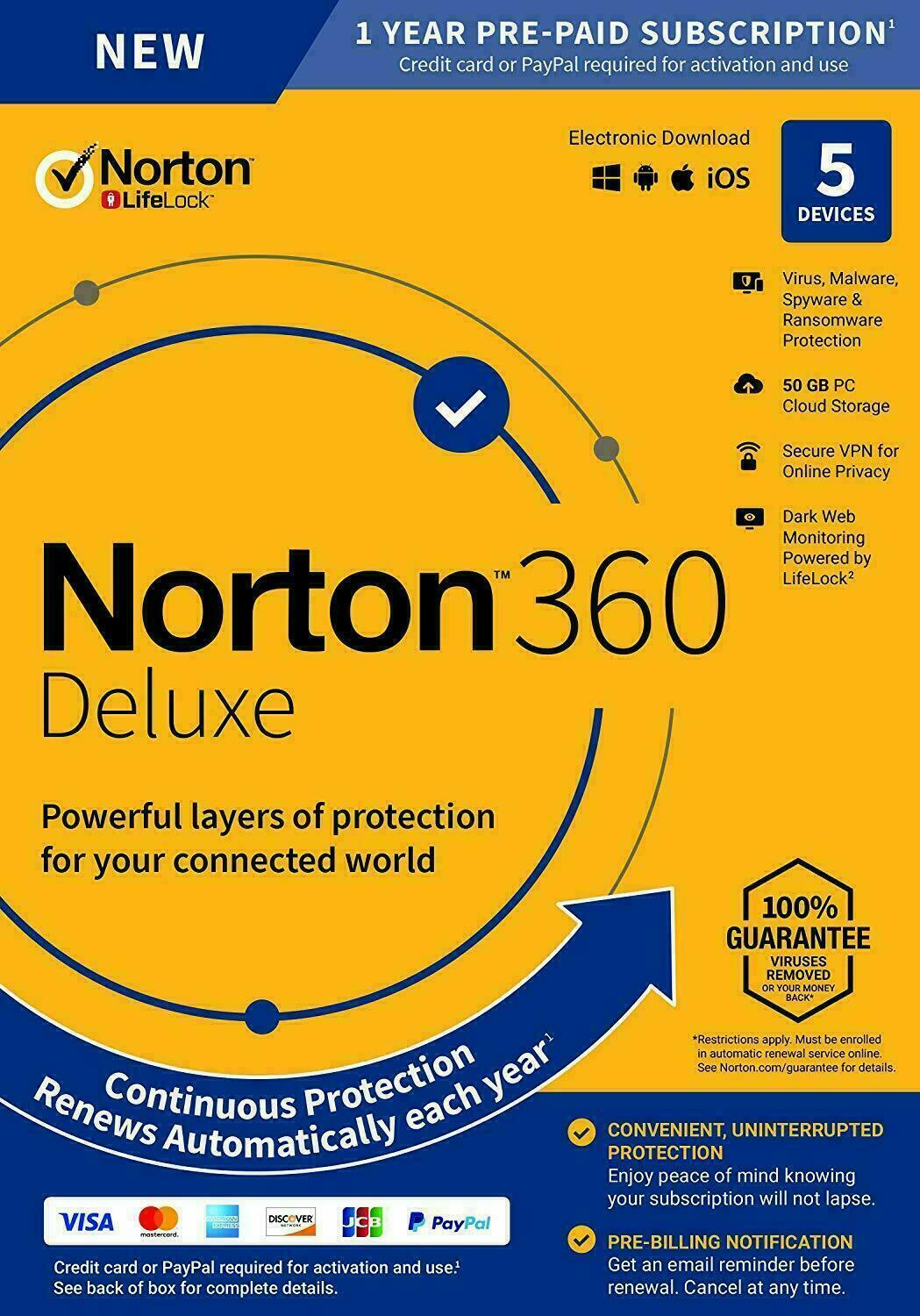 Norton 360 Deluxe 2020 / 5 Devices / 1 Year / Secure VPN / 50 GB Cloud Backup