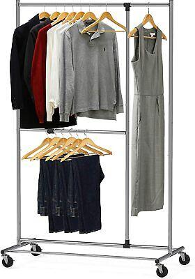 Garment Rack Clothing Closet Simple Houseware Dual Bar Adjustable Chrome 72 Hei