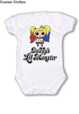 NEW SUICIDE SQUAD HARLEY QUINN Onesie JUGGALO Baby DADDYS LIL MONSTER -