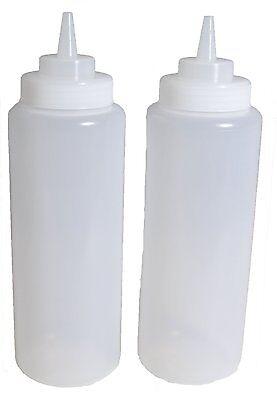 2x 32 Oz. Ounce Large Clear Squeeze Bottle Condiment Squeeze Bottle Us Seller