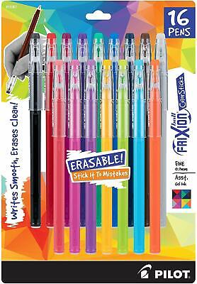 Pilot Frixion Gel Ink Pens Fine Point .7mm 16 Assorted Colors Erasable Ink